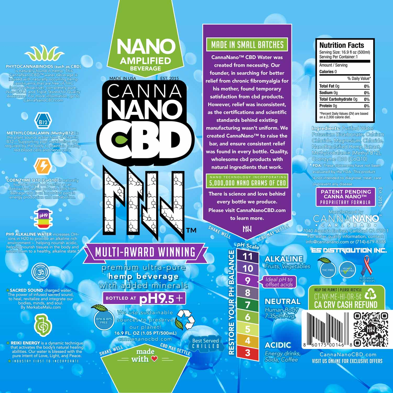 CannaNano CBD Water Label